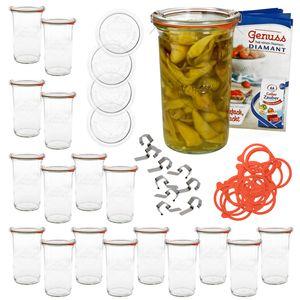 18er Set WECK Sturz Glas 1050ml + 18x Einmach-Zubehör + Heft Einmachen Gläser