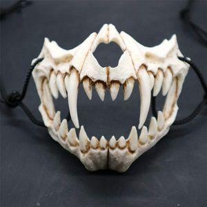 Maske Resin Halbmaske,Halloween Cosplay Resin Mask Die japanische Drachengott Maske Animal Theme Party Animal Skeleton Halbmaske Karneval für Kinder Frauen Männer