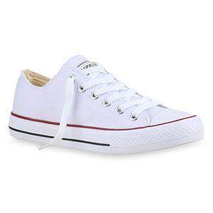 Mytrendshoe Damen Sneakers Stoffschuhe Spitze Sportschuhe Freizeit Schuhe 892186, Farbe: Weiß Rotstreifen Lucky, Größe: 42