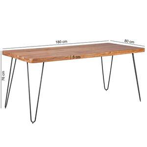 WOHNLING Esstisch BAGLI Massivholz Akazie 180 x 76 x 80 cm Esszimmer-Tisch Küchentisch modern Landhaus-Stil Holztisch mit Metallbeinen dunkel-braun Natur-Produkt Massivholzmöbel Echt-Holz unbehandelt