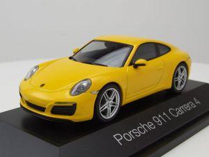 Porsche 911 (991) Carrera 4 2012 gelb Modellauto 1:43 Herpa