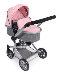 Bayer Chic 2000 Kombi-Puppenwagen Mika Melange grau-rosa