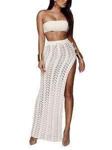 Damen sexy Strickhäkelrock mit hoher Taille, geteilter Strandrock mit hoher Taille,Farbe: Weiß,Größe:L
