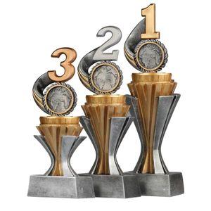 3er Pokalset je 1 Stück Zahl 1, 2 und 3 Serie SALAKA Trophäe aus PVC