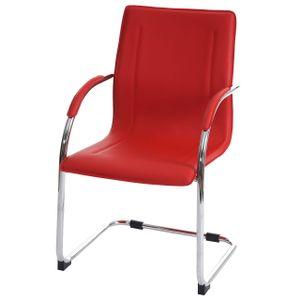 Esszimmerstuhl Perm, Freischwinger Küchenstuhl Lehnstuhl Stuhl, PVC Stahl  rot
