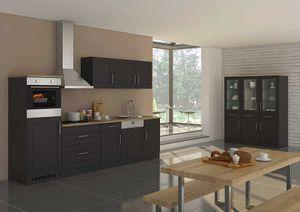 Küchenblock Rom 300 cm im Landhaus Stil grau matt ohne Elektrogeräte