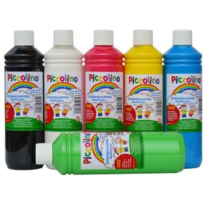 Piccolino Kindermalfarben Set 6x 500ml - Kindergarten Malfarben - Schulmalfarben Set