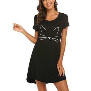 Damen Damen Kurzarm Casual Cartoon Print Bequemes Nachthemd Schlafkleid Größe:XL,Farbe:Schwarz