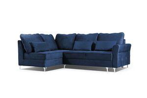 Neu Blau Ecksofa mit Schlaffunktion für Zuhause Bettkasten Wellenfedern HILTON