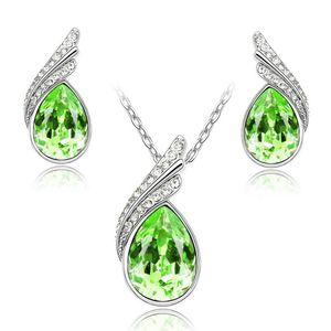 Schmuck Set Halskette Ohrringe Zirkonia Kristall Tropfen Flügel Silber Strass grün