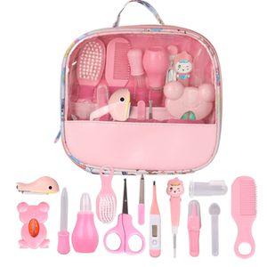 13 Stücke Gesundheitswesen Tasche Baby Tägliche Hygiene Nagelknipser Schere Pinsel Haar Kamm Maniküre Pflege (pink)