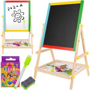 Holz Kunst-Staffelei für Kinder mit doppelseitiger Staffelei-Tafel und weißer Staffelei 8905