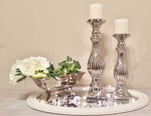 Kerzenständer Geriffelt Silber Kerzenleuchter Kerzenhalter Shabby Chic Stumpen Groß (39 cm)