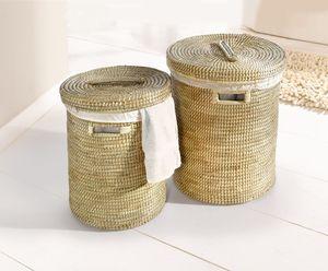 Wäschekorb mit Deckel klein, Maße Ø 40 x 50