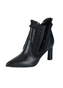 Xyxyx Damen Marken-Stiefelette mit Fransen, schwarz, Größe:40