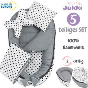 JUKKI® Baby Nestchen ✨ 5tlg BAUMWOLLE SET für Neugeborene [Polka Dots] 2seitig 100x55cm Babynest + Matratze + Decke + 2xKissen