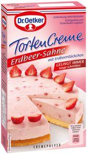 Dr. Oetker Tortencreme Erdbeer Sahne  mit Edbeerstückchen 70g