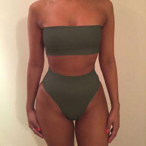 1 Bikini Set , L Armeegrün Solide Bandeau Badebekleidung