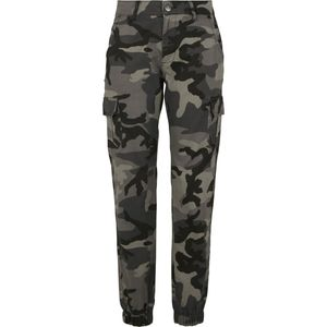 Urban Classics Damen Ladies High Waist Camo Cargo Pants TB3047, color:dark camo, size Inch:27