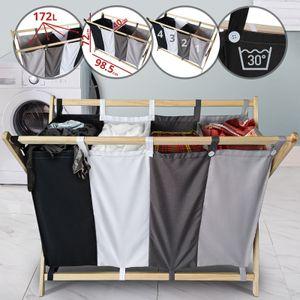 Jago® Wäschesortierer - faltbar, 4 Fächer aus Stoff, aus Holz, vierfarbig, ca. 172 l Volumen, Größe (L/B/H): 98.5/40/72 cm - Wäschekorb, Wäschebox, Wäschesammler