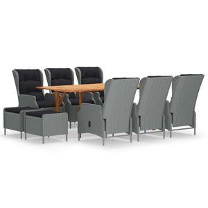 (HOME)9-tlg. Garten-Essgruppe-Bistroset-Sitzgruppe für 8 Personen Gartenmöbel-Set mit Tisch,8 Sessel, Hellgrau※ Germany