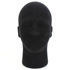 Männlich Perückenkopf Styroporkopf Hutständer Modellkopf Schaufensterpuppen Schwarz