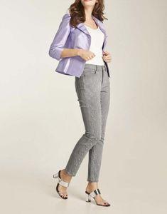 HEINE Damen Slim-Fit-Jeans mit Perlen, grau, Größe:36