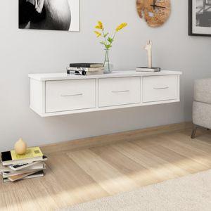 Pyzl Wand-Schubladenregal Hochglanz-Weiß 88x26x18,5 cm Spanplatte