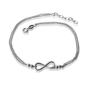 Fußkette Fuß Kette 925 Silber 24-27cm Infinity Liebe Unendlichkeit Schmuck 22222-27