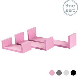 Harbour Housewares 3 Stück U-förmigen Schwebende Regale Set - Holz Buch CD DVD Wand Speicher-Anzeigen-Regal - Pink - 3 Größen