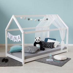 Homestyle4u 1849, Hausbett Kinderbett 90x200 Weiß mit Lattenrost Kinder Bett Haus Holz Kiefer