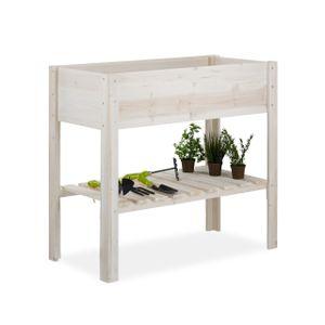 relaxdays Hochbeet Holz Weiß