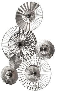 dekojohnson extravagante Wanddeko aus Metall Kreise Industrial Design Bild silber Moderne Wanddekoration Wandbild-Blüten 72x48cm
