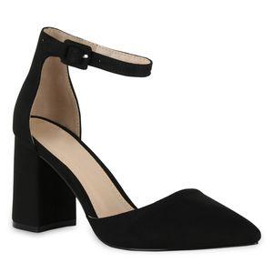 Mytrendshoe Damen Spitze Pumps Chunky High Heels Blockabsatz Party Schuhe 826011, Farbe: Schwarz, Größe: 38