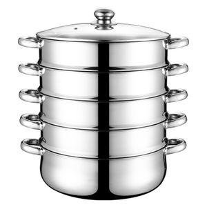 5 Tier Dampftopf Dampfgarer Dampfkocher Dampfkochtopf Schnellkochtopf Kochtopf Küchengerät mit Glasdeckel 28cm