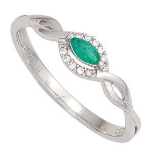 JOBO Damen Ring 333 Gold Weißgold 1 Smaragd grün 10 Diamanten Brillanten Goldring Größe 52