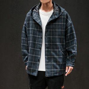 Herren Casual Trenchcoat Mode Langarm Slim Plaid Mantel Jacke Outwear Größe:M,Farbe:Blau