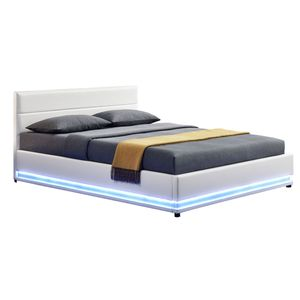 Juskys Polsterbett Toulouse 140x200 cm – Bett mit Lattenrost, Kopfteil, LED-Leiste & Stauraum – Modernes Bettgestell mit Kunstlederbezug in Weiß