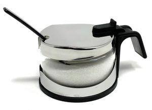 Zuckerdose Glas mit Deckel Edelstahl mit Löffel Zuckerbehälter Zuckerspender Parmesandose Marmeladendose