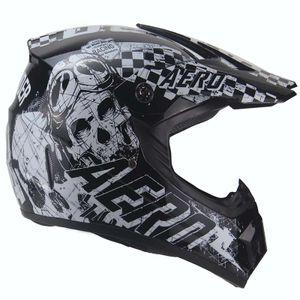 AERO Skeleton Crosshelm für Kinder schwarz / weiß Motocrosshelm Helm Kinderhelm : M Größen: M