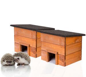 2x Igelhaus Igelhütte komplett Bausatz mit Zwischenwand und wetterfestem Dach Igelhotel für den Gart