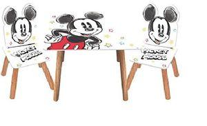 3tlg. Micky Maus Holz-Kindersitzgruppe Tisch + 2X Stuhl im Retro-Stil Sitzgruppe Kindertisch Maltisch Mickey Maus