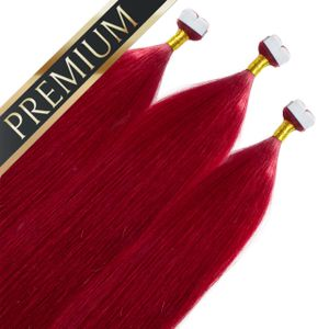 Premium Mini Tape Extensions, Farbe:#rot, Länge:50cm