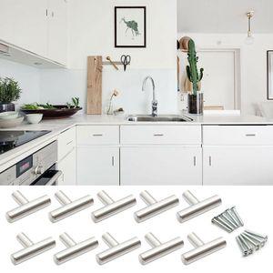 10x Edelstahl Messing Möbelknöpf Möbelgriffe Schrankgriff Küchengriffe Griff Knopf 50mm Türgriff T-Form, Silber
