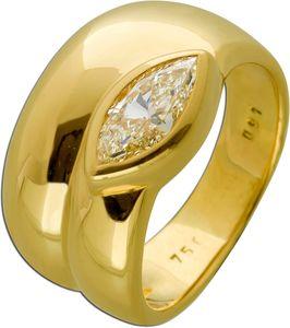 Diamant Ring 0,91ct Gelbgold 750 18 Karat mit Diamant Yellow Intense Rarität 17,3mm mit Görg Zert