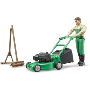 BRUDER 62103 bworld Gärtner mit Rasenmäher und Gartengeräten