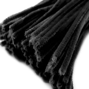20 Draht Pfeifenreiniger 6 mm Länge 30cm CHENILLE Farbe wählbar, Farbe:schwarz