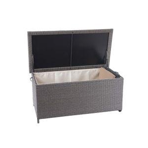 Poly-Rattan Kissenbox HWC-D88, Gartentruhe Auflagenbox Truhe  Premium grau, 51x100x50cm 170l