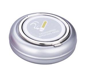 Taschen ASCHENBECHER Ø6,5cm mit Deckel Metall rund mini Taschenaschenbecher Reiseaschenbecher Reise Outdoor 22 (Grau)