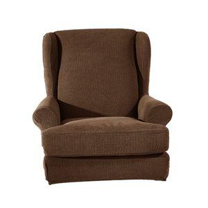 Ohrensessel Schonbezug Sesselhusse Sesselbezug Stretch Überwurf Sofa Husse Hülle 12 Braun 1 wie beschrieben